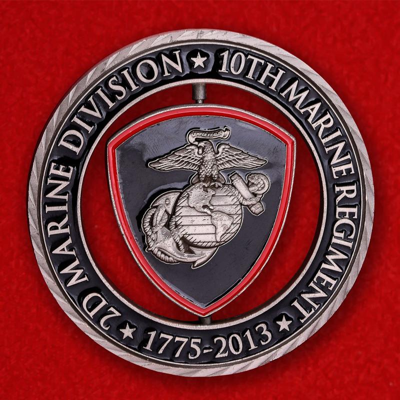 10th Marine Regiment 2nd Marine Division USMC Birthday Ball Challenge Coin - obverse