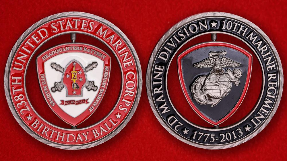 10th Marine Regiment 2nd Marine Division USMC Birthday Ball Challenge Coin - both sides.