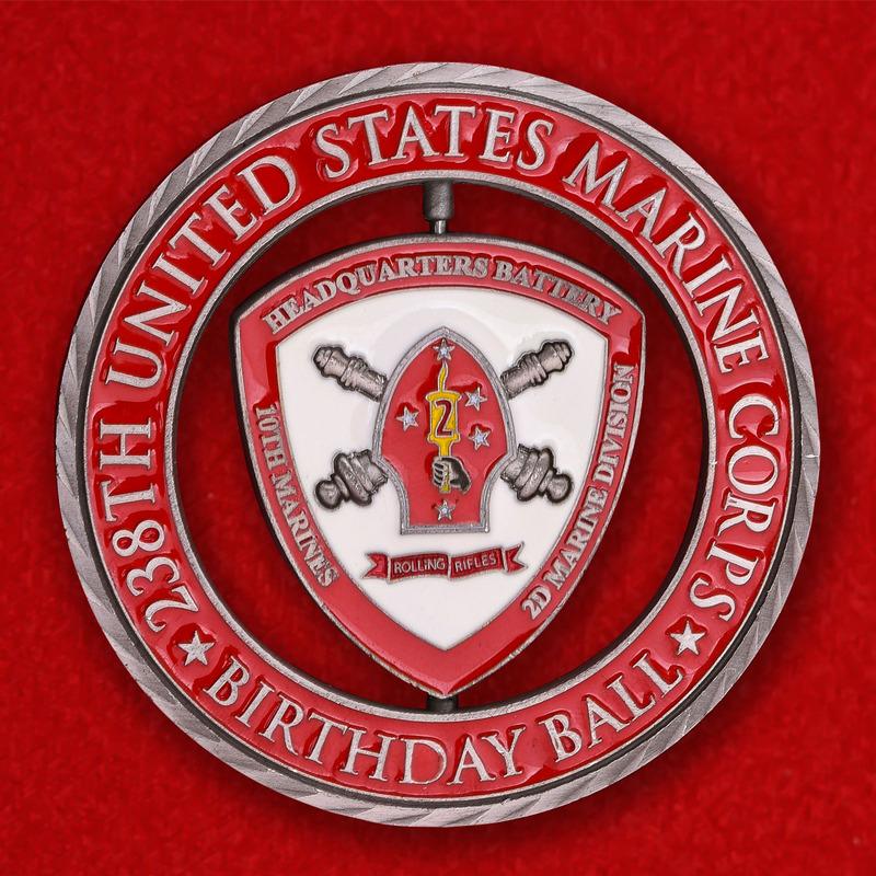 10th Marine Regiment 2nd Marine Division USMC Birthday Ball Challenge Coin - reverse