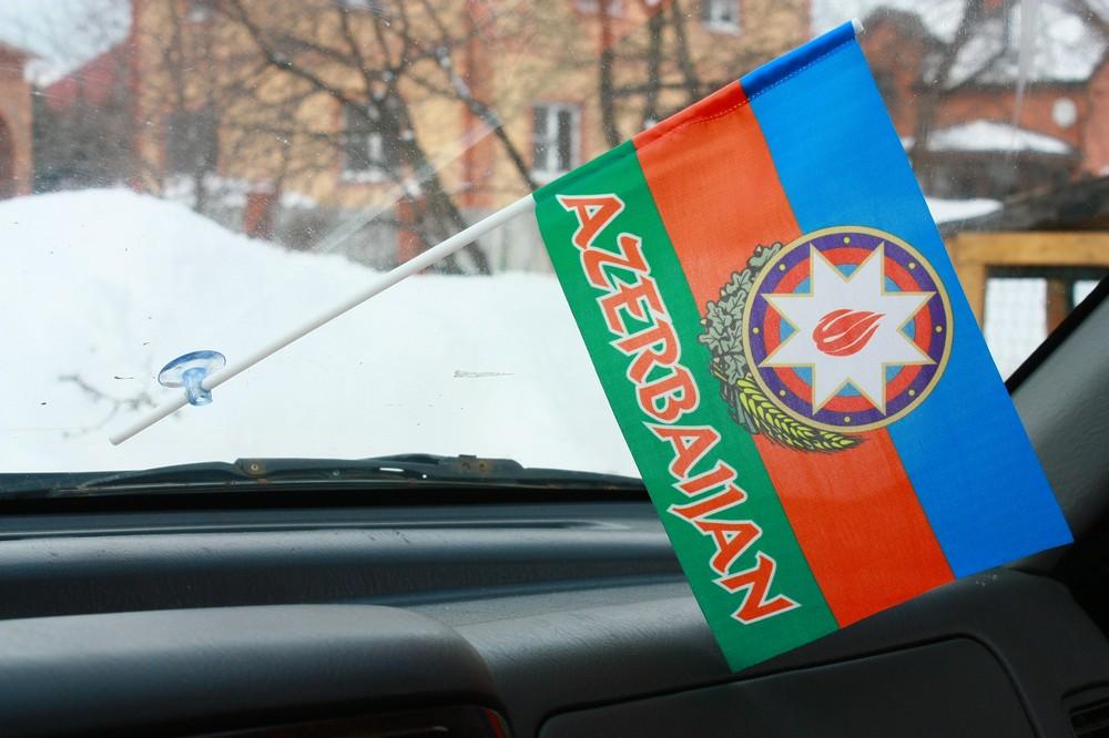 Флажок в машину с присоской Азербайджан с надписью