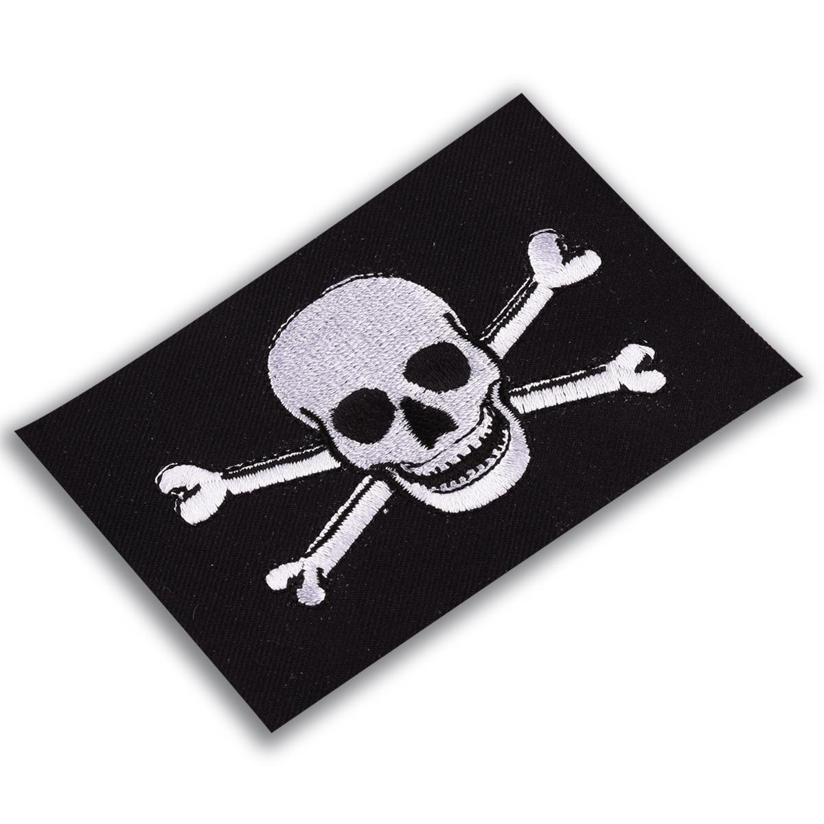 Байкерская нашивка «Череп с костями»