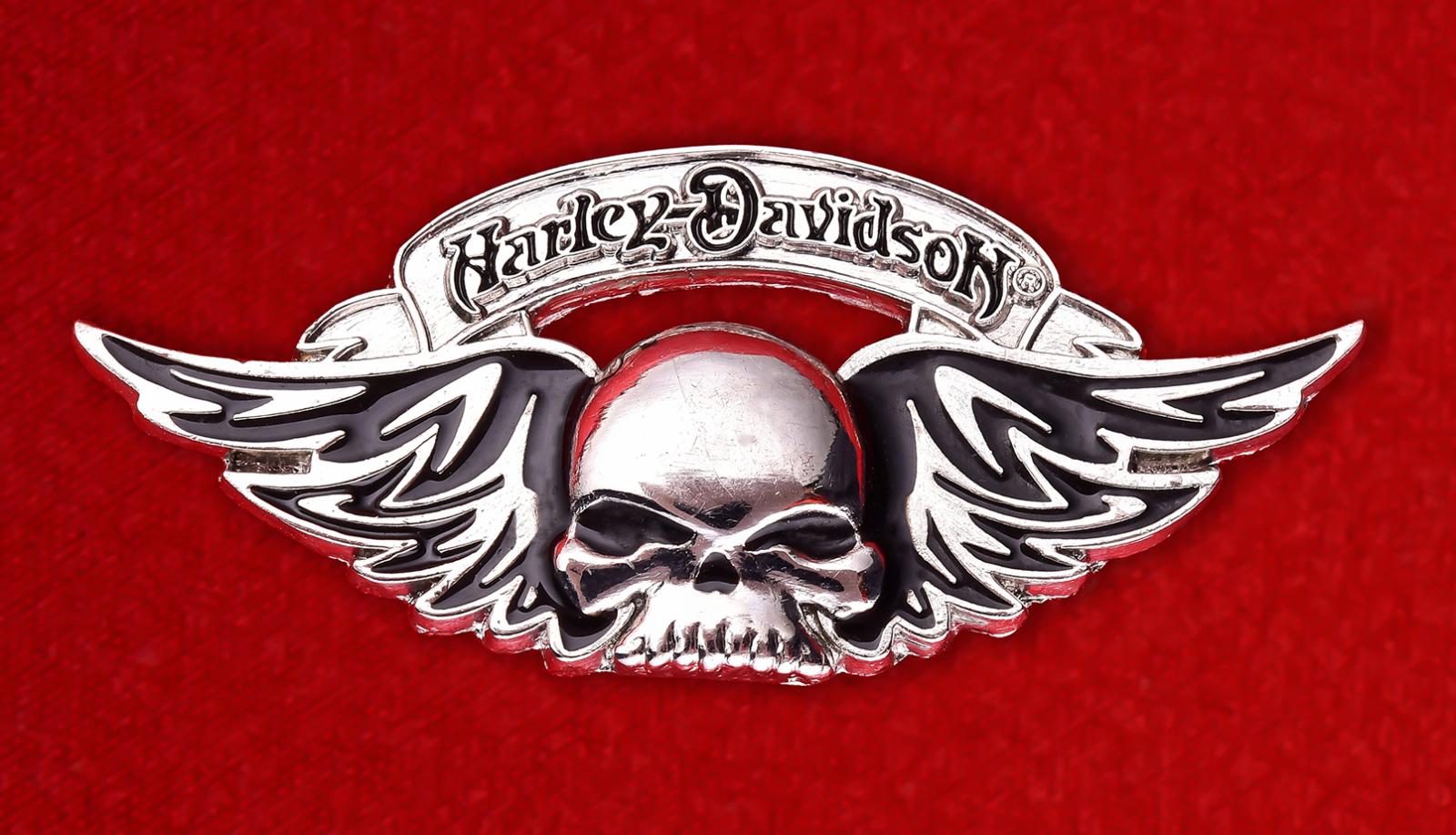 "Байкерский значок с черепом ""Харлей-Дэвидсон"""