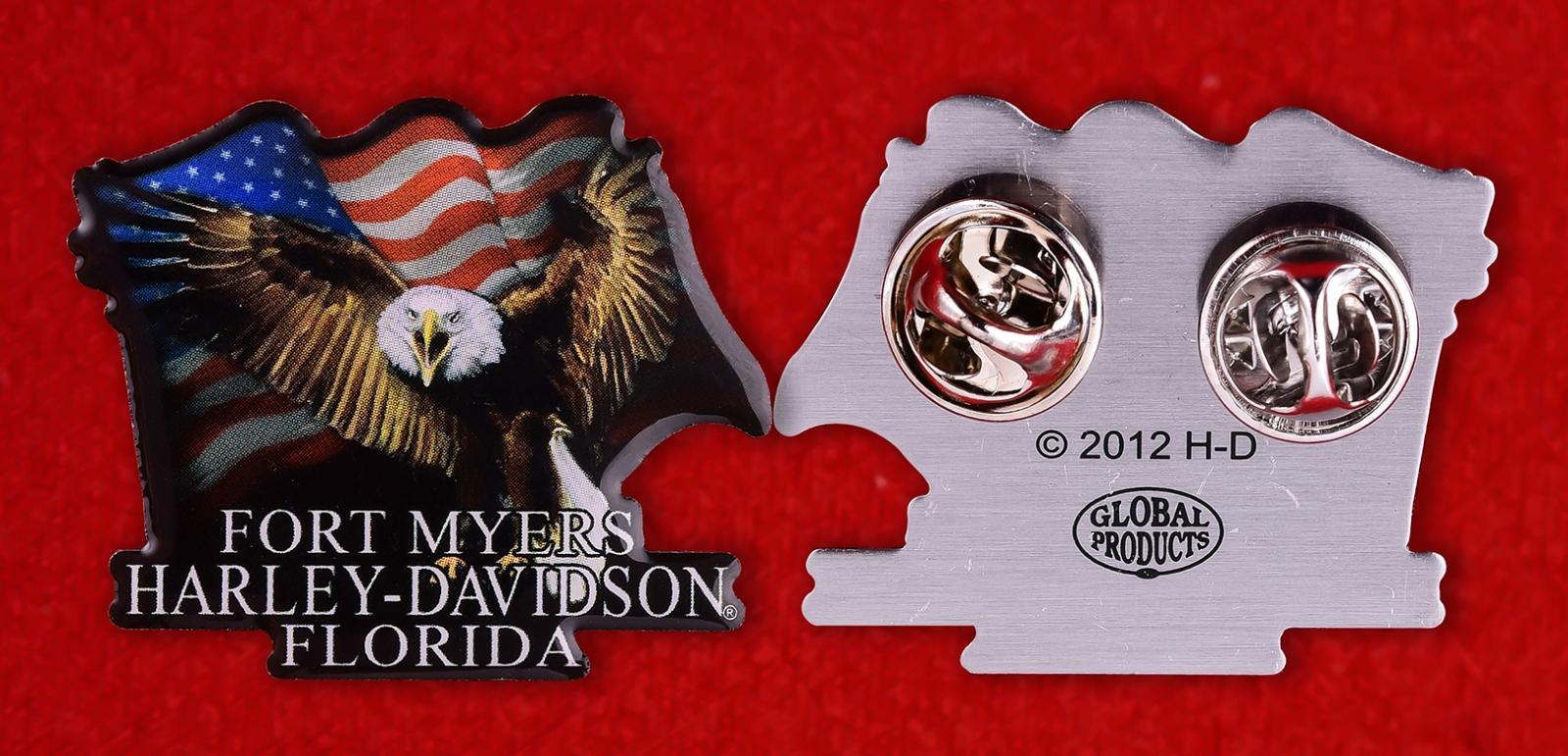 """Байкерский знак """"Harley-Davidson, Форт Майерс, Флорида"""""""