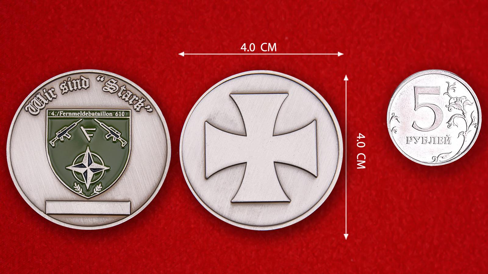 """Herausforderungs-Münze """"Fernmeldebattalion 610"""" - comparative size"""