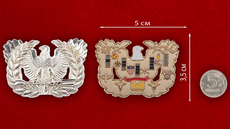 Челлендж коин Армии США - сравнительный размер
