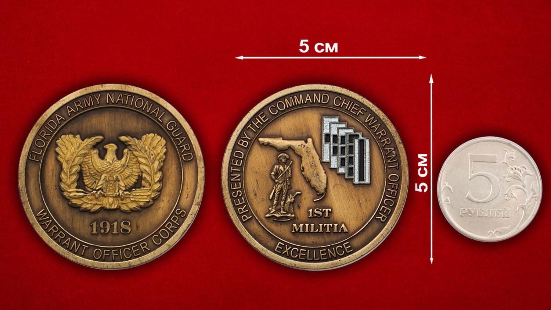 Челлендж коин прапорщика Национальной гвардии США (Штат Флорида) - сравнительный размер