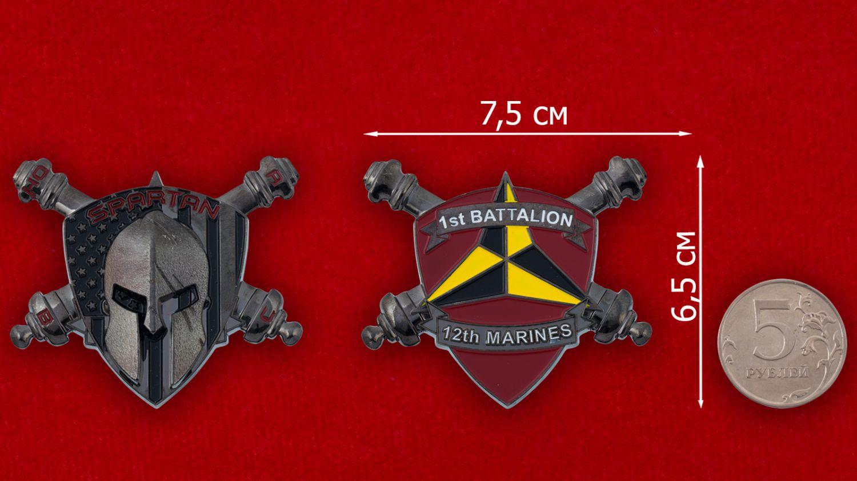 Челлендж коин 1-го батальона 12-го артиллерийского дивизиона Корпуса Морской Пехоты США - спавнительный размер