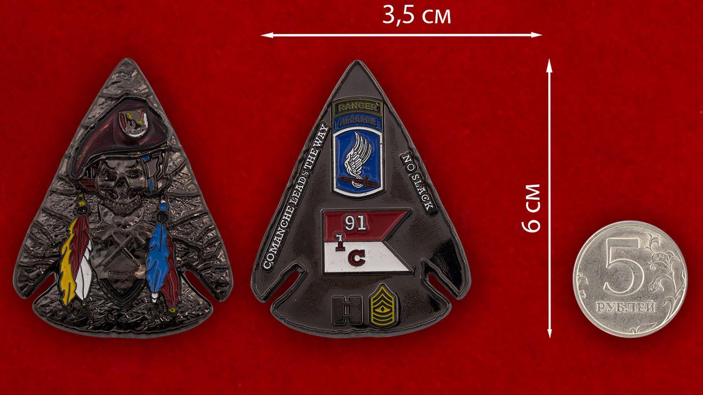 Челлендж коин 1-го воздушно-десантного эскадрона 91-го кавалерийского полка Армии США - сравнительный размер