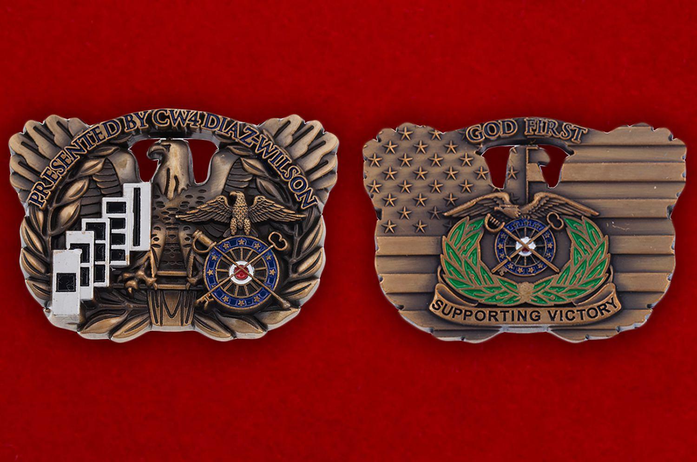 """Челлендж коин 1-го оперативного штаба тылового обеспечения СВ США """"От старшего уоррент-офицера 4-го класса Диаз-Уилсона"""" - аверс и реверс"""