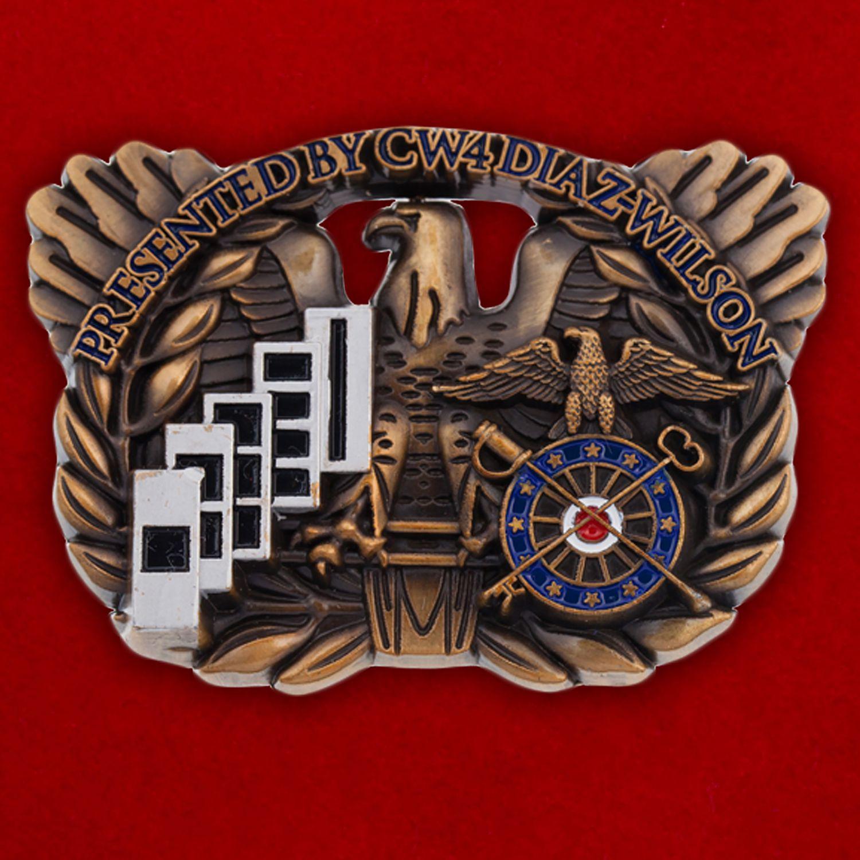 """Челлендж коин 1-го оперативного штаба тылового обеспечения СВ США """"От старшего уоррент-офицера 4-го класса Диаз-Уилсона"""""""