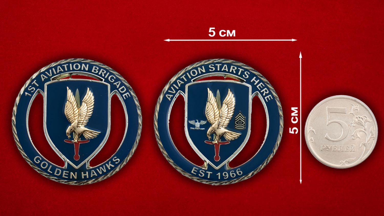 Челлендж коин 1-й авиационной бригады Армии США - сравнительный размер