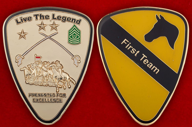 Челлендж коин 1-й Кавалерийской дивизии Армии США - аверс и реверс