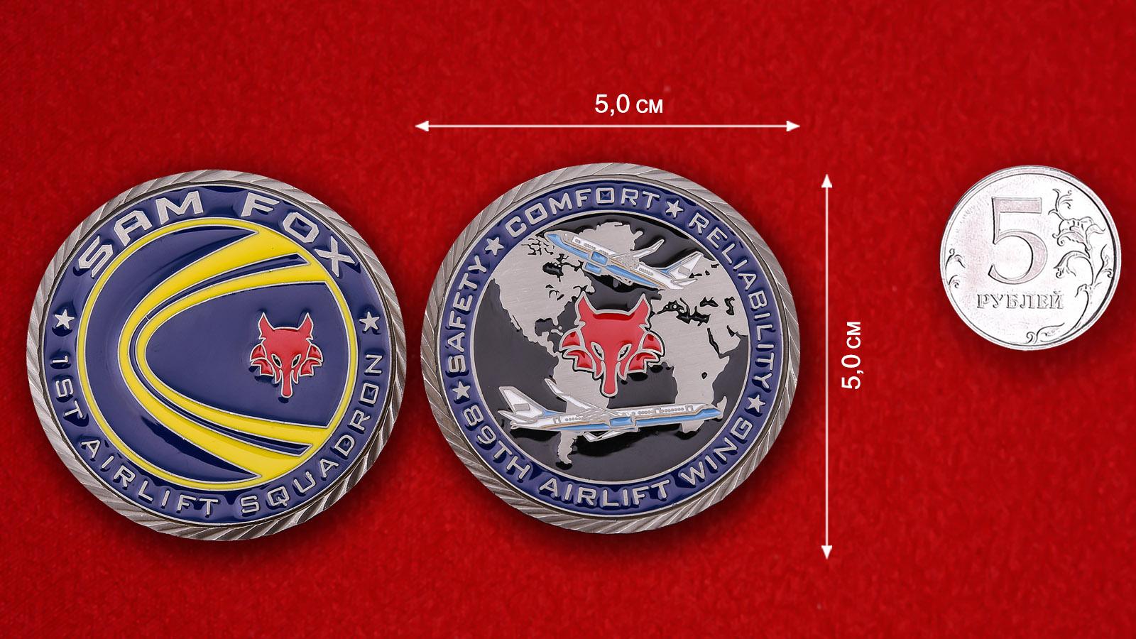 """Челлендж коин """"1-я эскадрилья транспортной авиации 89-го авиакрыла ВВС США"""""""
