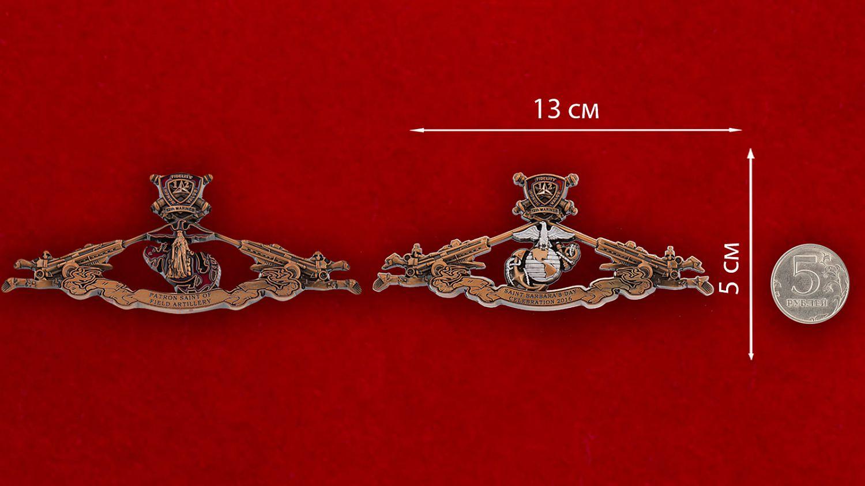 Челлендж коин 12-го Артиллерийского полка Корпуса Морской пехоты США - сравнительный размер