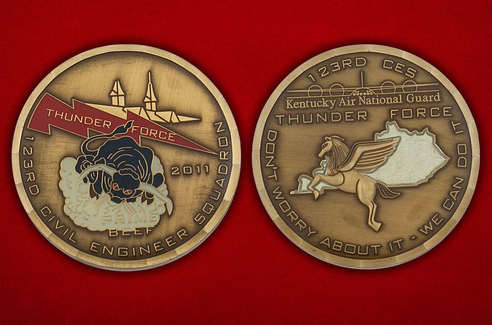 Челлендж коин 123-й Инженерно-строительной эскадрильи ВВС США - аверс и реверс