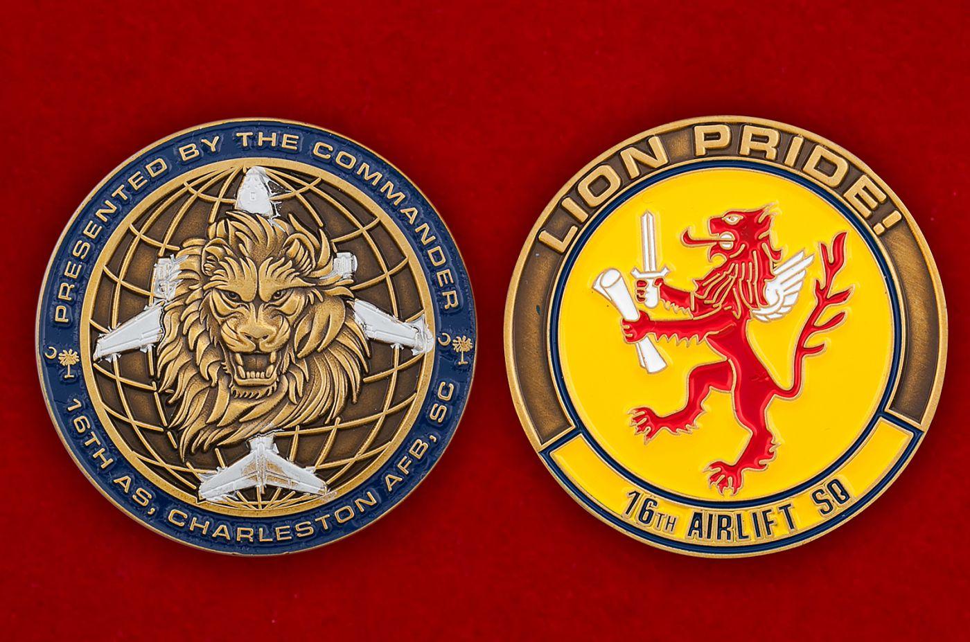 Челлендж коин 16-й воздушно-транспортной эскадрильи ВВС США - аверс и реверс