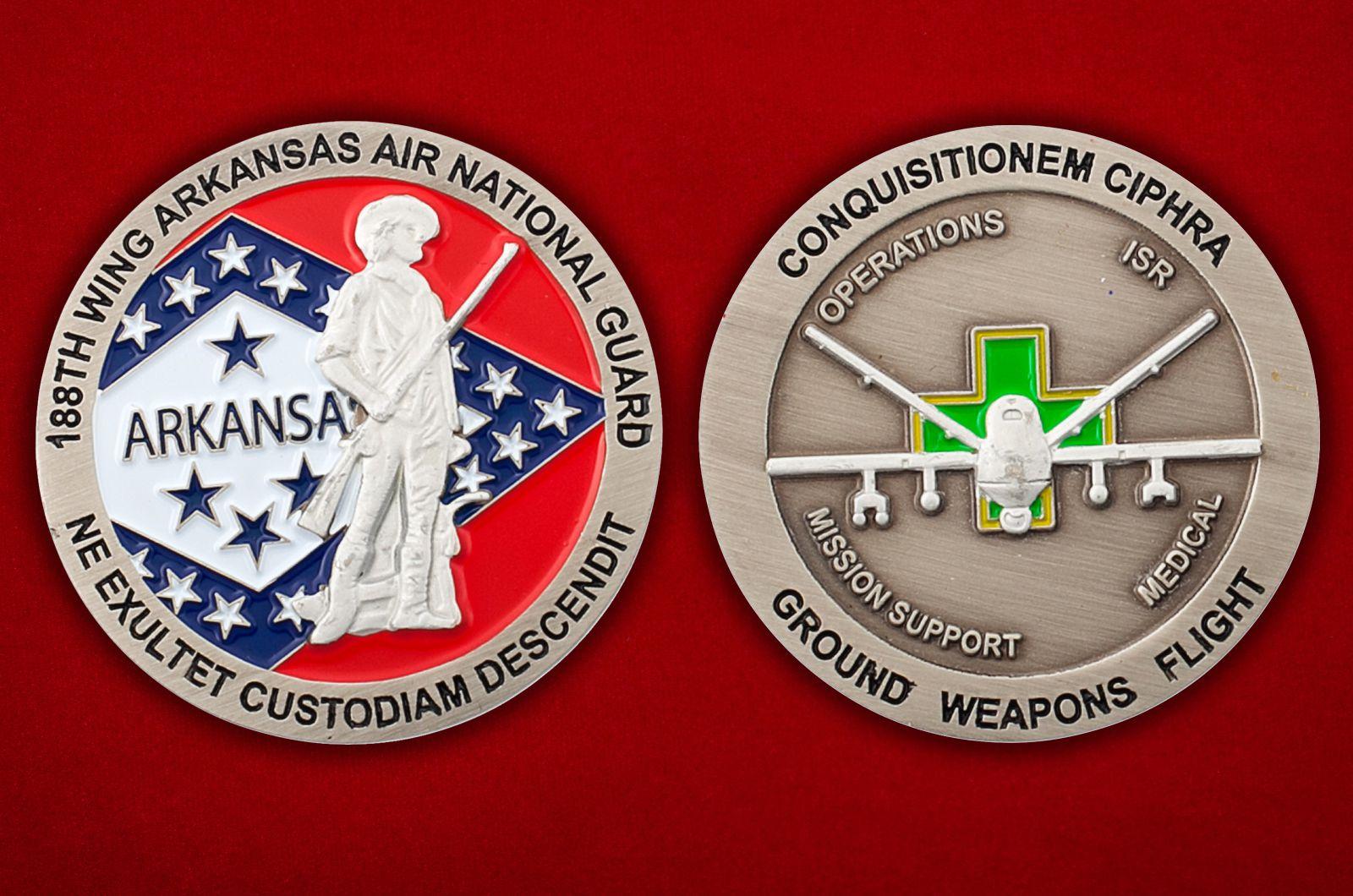 Челлендж коин 188 крыла авиации Национальной гвардии США (Арканзас) - аверс и реверс