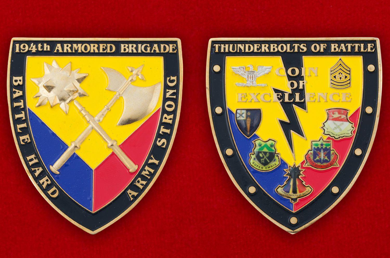 Челлендж коин 194-й Танковой бригады Армии США - аверс и реверс