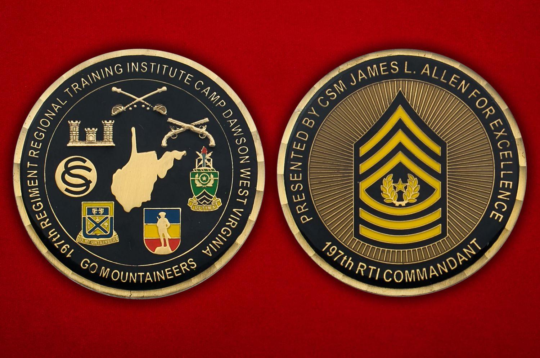 """Челлендж коин """"Старшему мастер-сержанту Джейсу Аллену, 197-й Учебный полк Института Нацгвардии США (Западная Виргиния)"""" - аверс и реверс"""
