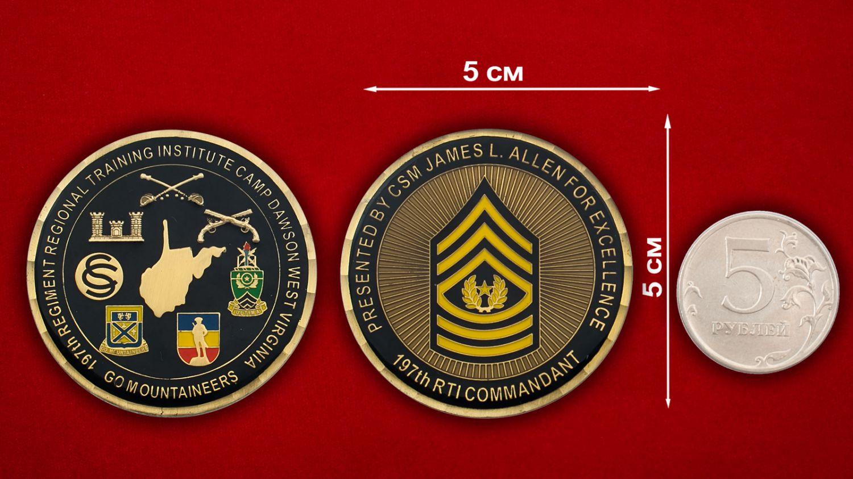 """Челлендж коин """"Старшему мастер-сержанту Джейсу Аллену, 197-й Учебный полк Института Нацгвардии США (Западная Виргиния)"""" - сравнительный размер"""