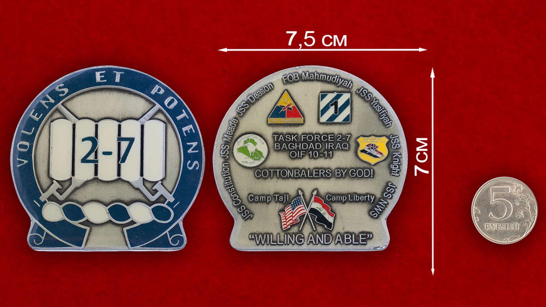 Челлендж коин 2-го батальона 7-го Пехотного полка Армии США - сравнительный размер