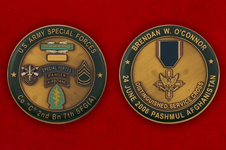 Челлендж коин 2-го батальона 7-й Воздушно-десантной группы Сил специального назначения Армии США - аверс и реверс