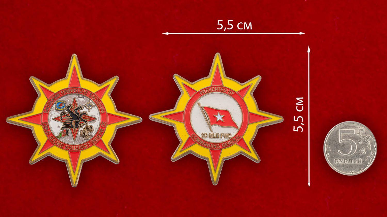 """Челлендж коин """"2-й Группе материально-технического снабжения Корпуса Морской пехрты США от Главнокомандующего"""" - сравнительный размер"""