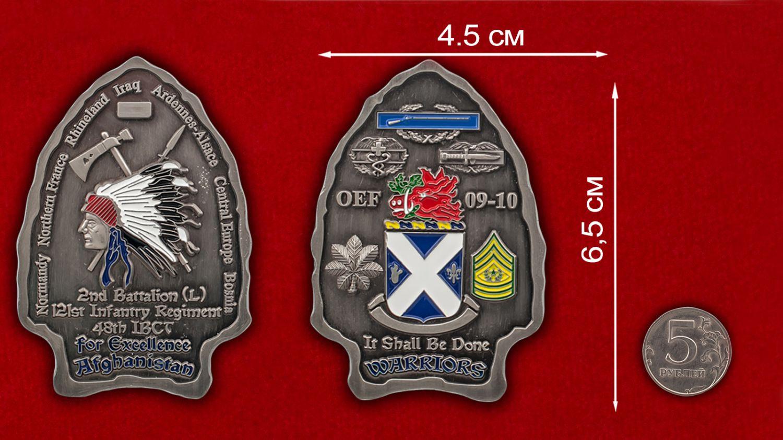 """Челлендж коин """"2-му батальону 121-го пехотного полка 48-й Бригадной тактической группы за Афганистан"""" - сравнительный размер"""