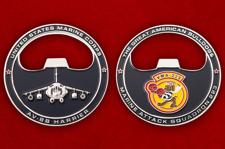 """Челлендж коин """"223-я эскадрилья поддержки с воздуха Корпуса Морской пехоты США"""" - аверс и реверс"""