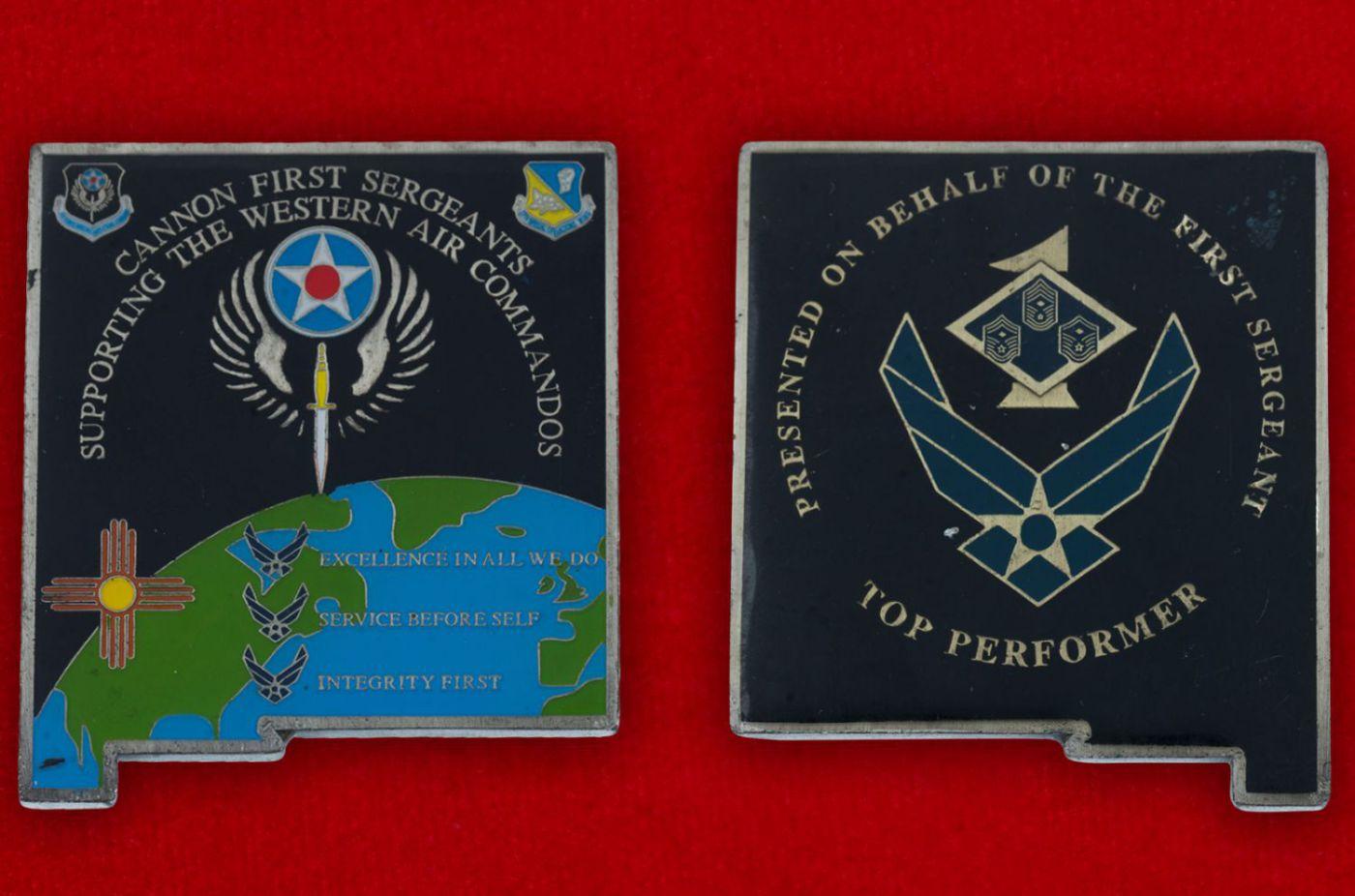 Челлендж коин 27-го авиакрыла Командования специальных операций ВВС США - аверс и реверс