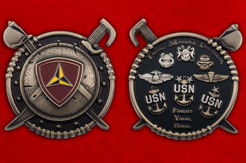 Челлендж коин 3-ей Дивизии Корпуса Морской пехоты США - аверс и реверс