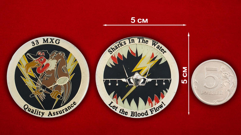 Челлендж коин 33-й авиагруппы технического обслуживания ВВС США - сравнительный размер