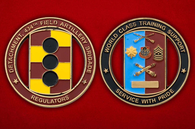 Челлендж коин 434-й бригады полевой артиллерии Армии США - аверс и реверс