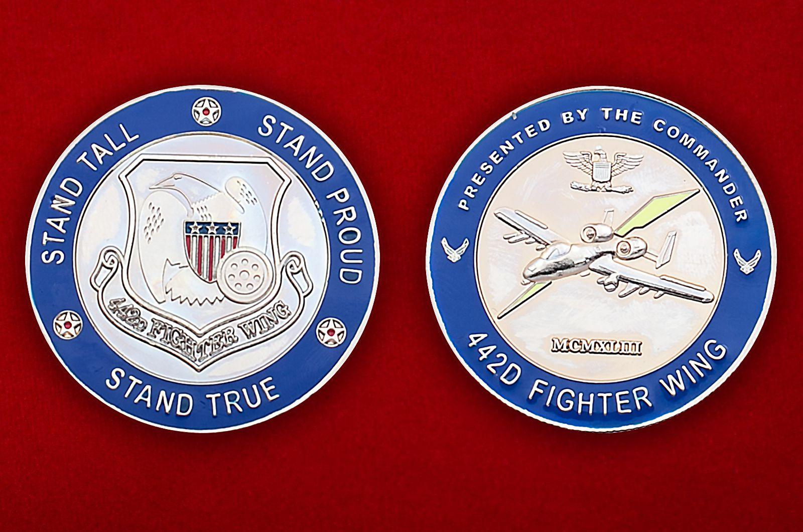 Челлендж коин 442-го Истребительного авиакрыла - аверс и реверс