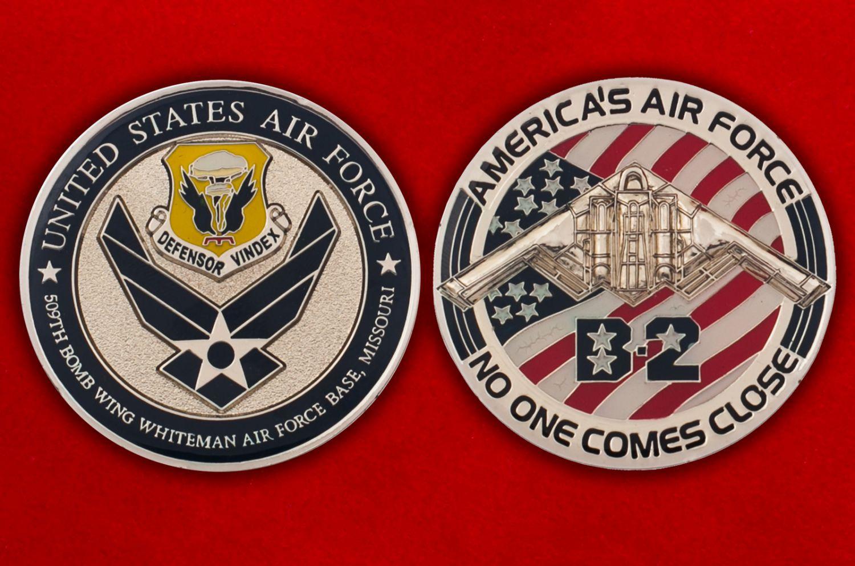 """Челлендж коин """"509-е крыло стратегических бомбардировщиков ВВС США"""" - аверс и реверс"""