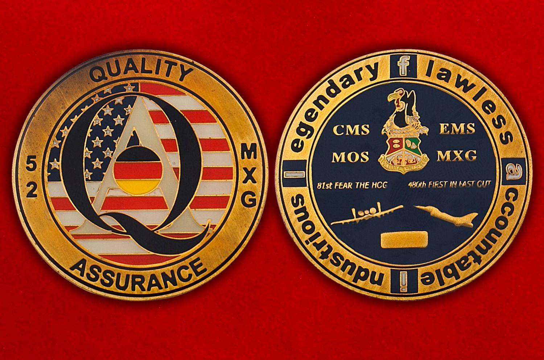 Челлендж коин 52-й группы технического обслуживания ВВС США - аверс и реверс