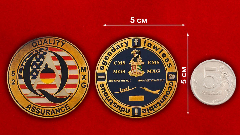 Челлендж коин 52-й группы технического обслуживания ВВС США - сравнительный размер