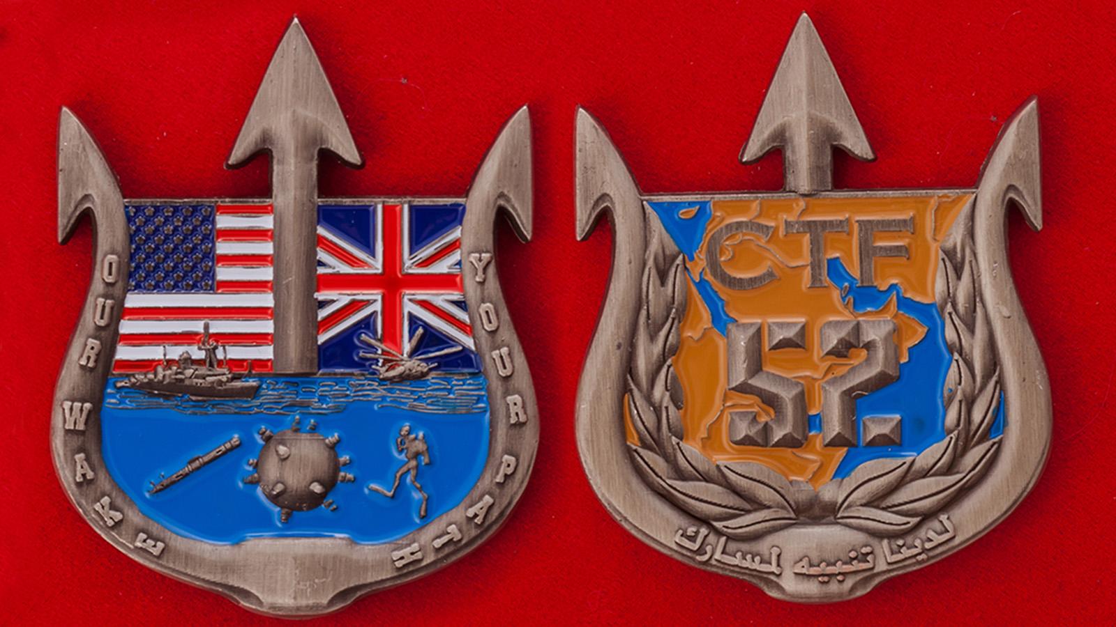 Челлендж коин командира 52-го оперативного соединения водолазов ВМС США - аверс и реверс