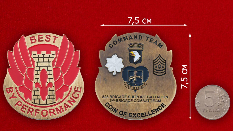 Челлендж коин 526-го батальона 2-й бригады 101-й дивизии ВДВ США - сравнительный размер