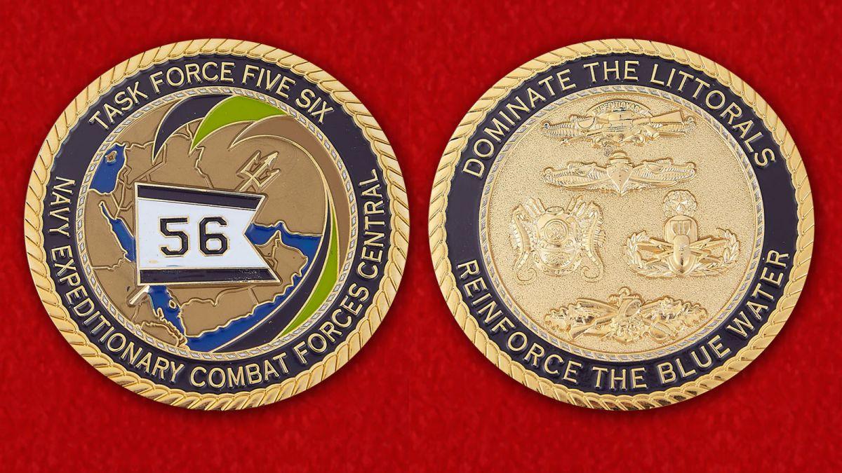 Челлендж коин 56-й Оперативной группы Экспедиционных сил ВМС США - аверс и реверс