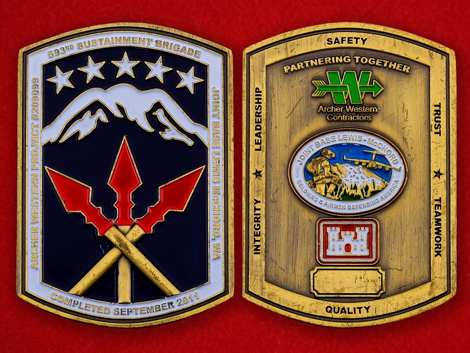 Челлендж коин 593-ей бригады материально-техничнской поддержки армии США