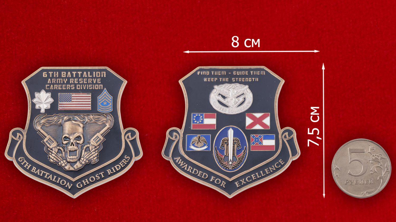 Челлендж коин 6-го батальона резерва Армии США - сравнительный размер