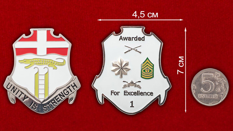 Челлендж коин 6-го пехотного полка Армии США - сравнительный размер