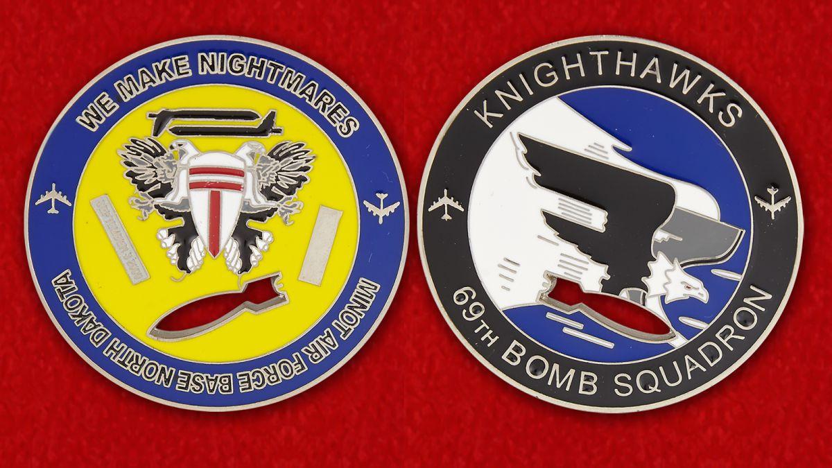 Челлендж коин 69-й эскадрильи стратегических бомбардировщиков ВВС США - аверс и реверс
