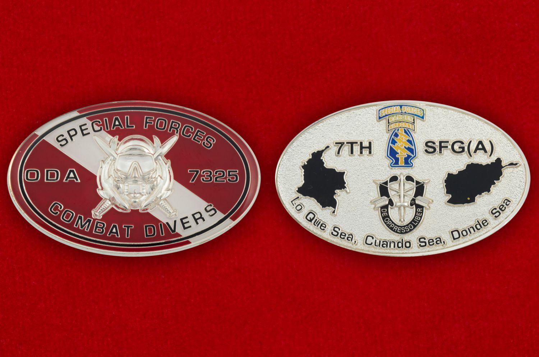 Челлендж коин 7-й группы Спецназа ВДВ США - аверс и реверс