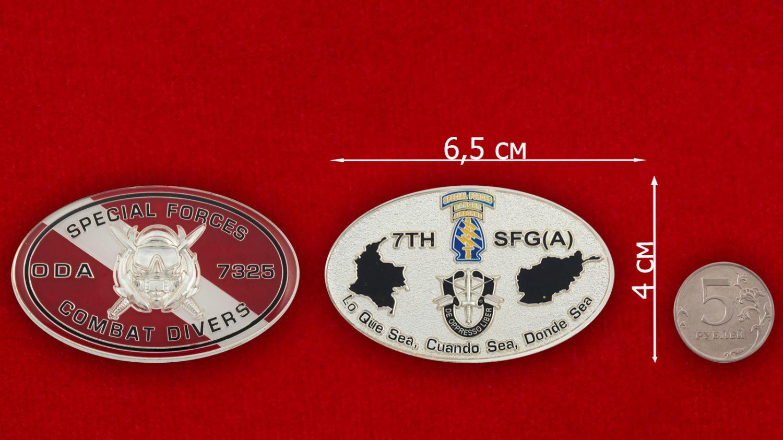 Челлендж коин 7-й группы Спецназа ВДВ США - сравнительный размер