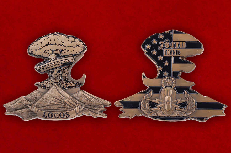 Челлендж коин 764-й роты обезвреживания артиллерийских боеприпасов Армии США - аверс и реверс