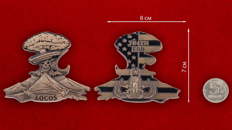 Челлендж коин 764-й роты обезвреживания артиллерийских боеприпасов Армии США - сравнительный размер