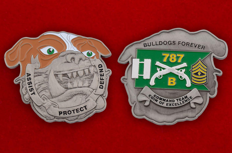 Челлендж коин 787-го батальона Военной полиции Армии США - аверс и реверс