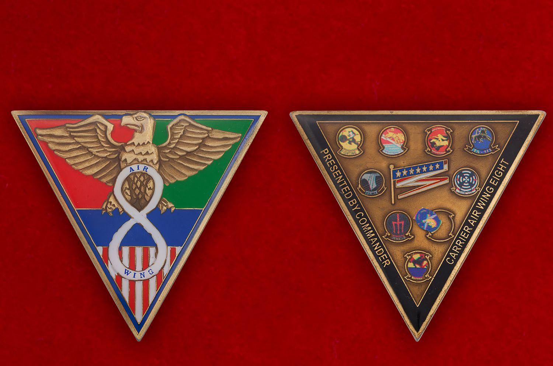 Челлендж коин 8-го крыла авианосного базирования (USS George H.W. Bush) - аверс и реверс